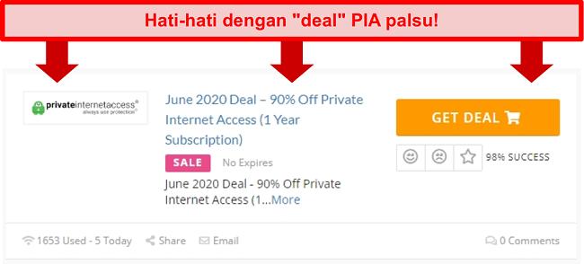 Cuplikan layar dari kesepakatan PIA palsu yang menawarkan diskon 90%