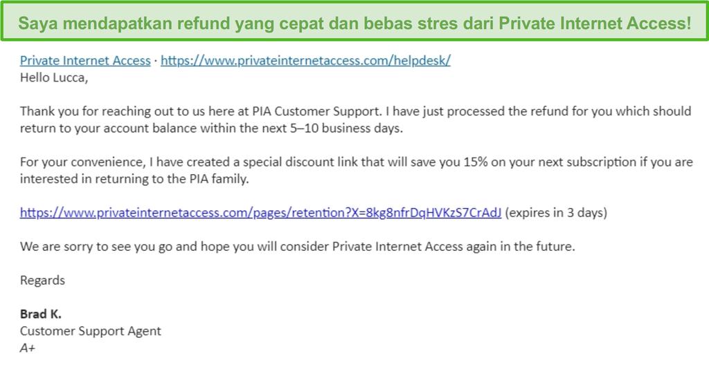 Cuplikan layar email dari PIA, memiliki permintaan pengembalian dana yang disetujui berdasarkan jaminan uang kembali 30 hari