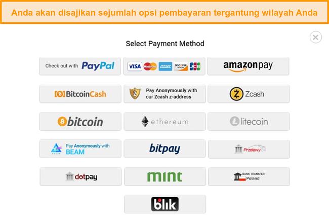 Cuplikan layar dari kemungkinan metode pembayaran saat mendaftar ke PIA