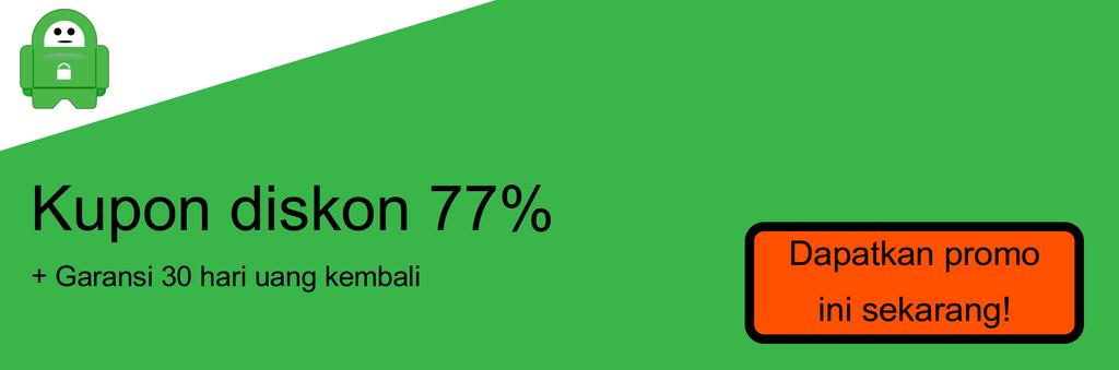 Cuplikan layar kupon diskon 77% PIA