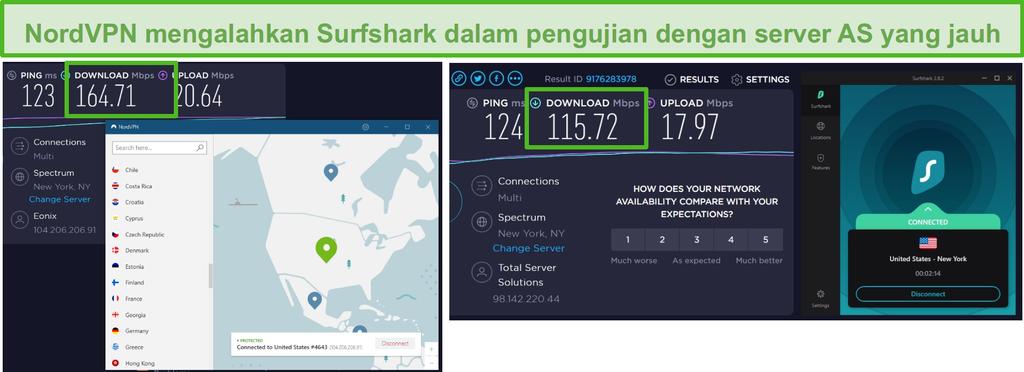 Tangkapan layar NordVPN dan Surfshark yang menjalankan uji kecepatan AS.