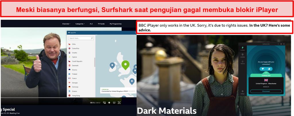Tangkapan layar NordVPN berhasil membuka blokir BBC iPlayer dan Surfshark gagal melakukannya.