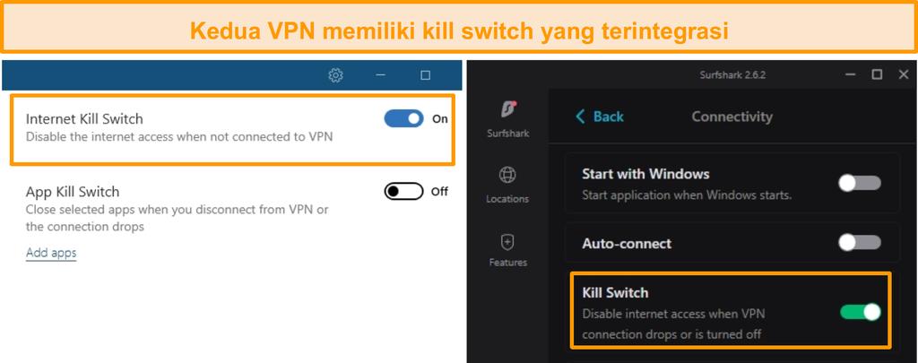 Tangkapan layar dari tombol pemutus terintegrasi NordVPN dan Surfshark.