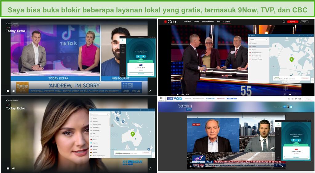 Tangkapan layar NordVPN dan Surfshark yang membuka blokir berbagai stasiun TV lokal, termasuk 9Now, TVP, dan CBC.