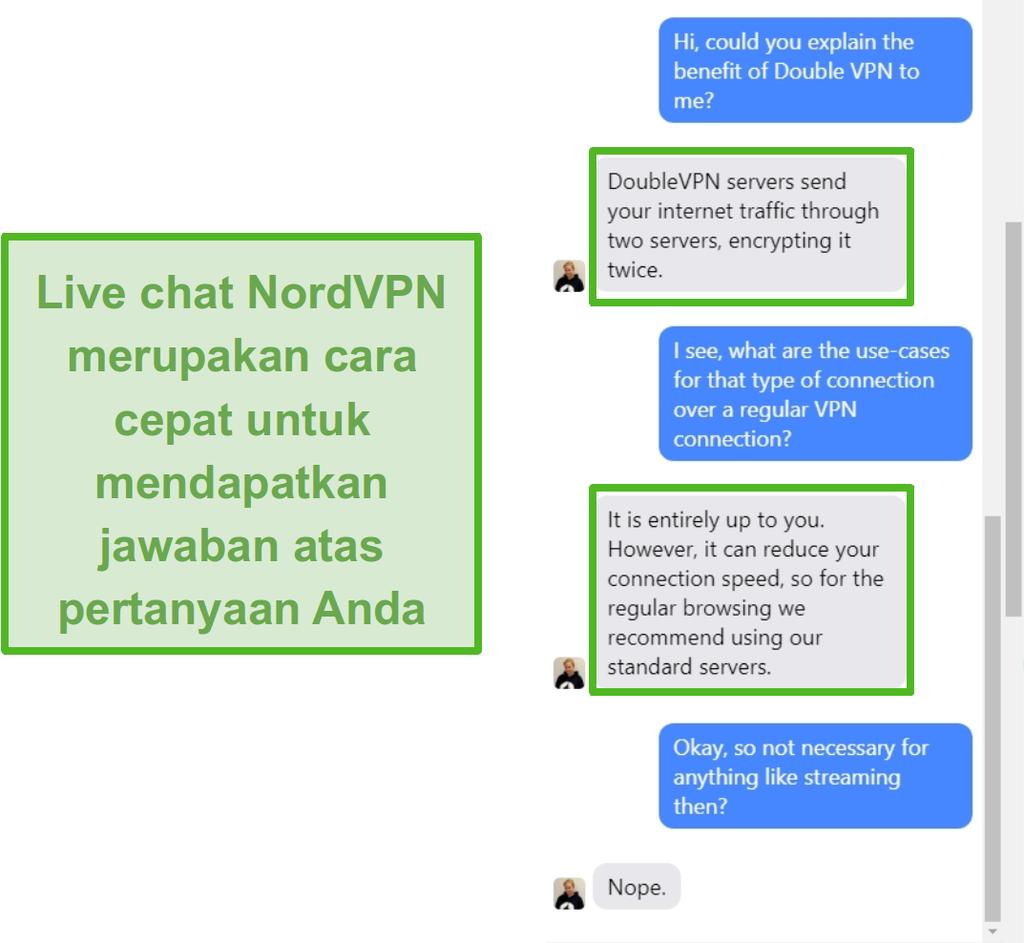 Tangkapan layar dari bantuan obrolan langsung NordVPN.