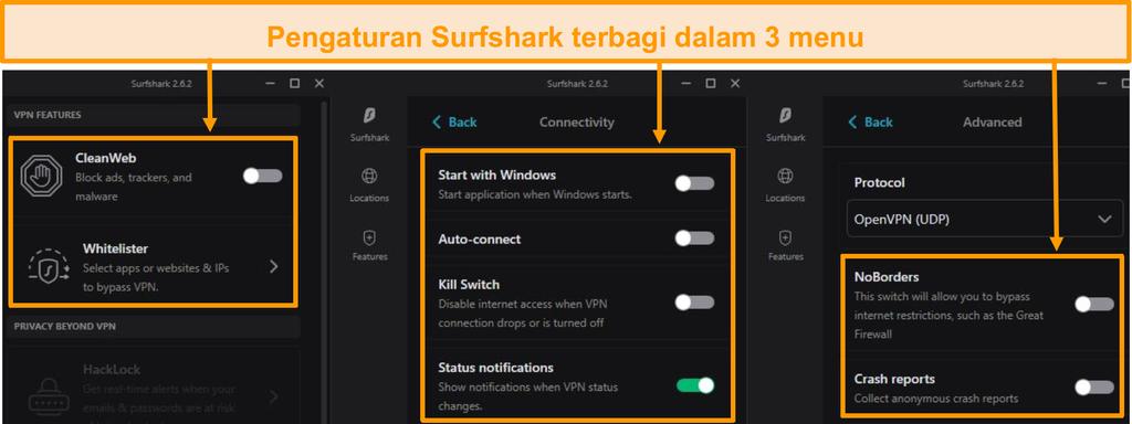 Tangkapan layar dari menu desktop Surfshark.