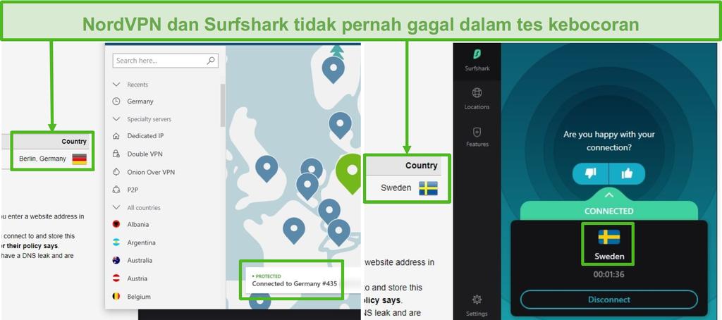 Tangkapan layar dari NordVPN yang lulus uji kebocoran terhubung ke server Jerman, dan Surfshark melewati uji kebocoran yang terhubung ke server Swedia.