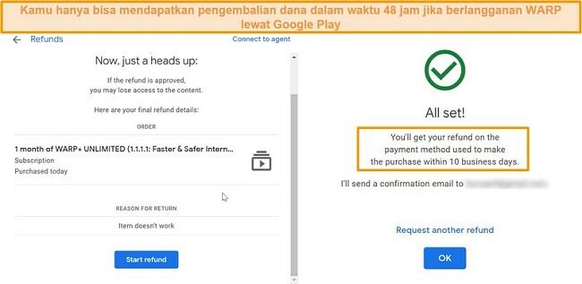 Tangkapan layar dari WARP proses pengembalian dana Google