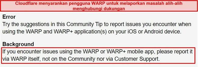 Tangkapan layar informasi dukungan pelanggan WARP Cloudflare, memberi tahu pengguna untuk hanya menggunakan aplikasi untuk masalah dukungan.
