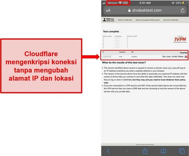 Tangkapan layar dari IP WARP dan hasil uji kebocoran DNS Cloudflare - tidak lolos karena tidak menggantikan alamat pengguna.