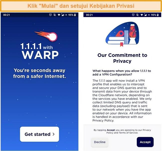 Tangkapan layar yang menunjukkan pengaturan WARP saat meluncurkan aplikasi