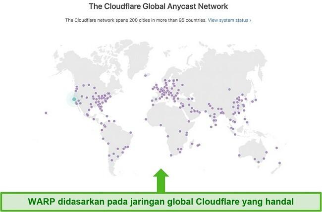 Tangkapan layar menunjukkan Cloudflare, perusahaan induk Warp, jaringan global dan bagaimana hal itu meningkatkan kecepatan WARP