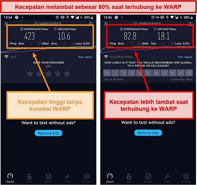 Tangkapan layar dari uji kecepatan dengan kecepatan lebih lambat hingga 80% menggunakan WARP