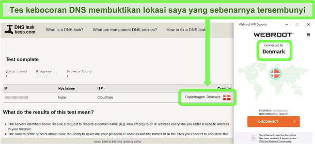 Tangkapan layar dari uji kebocoran DNS yang berhasil saat Webroot WiFi Security tersambung ke server di Denmark