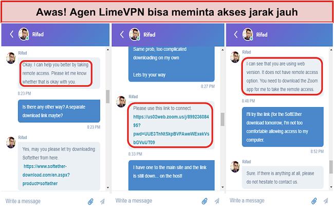 Tangkapan layar dari LimeVPN agents request remote access