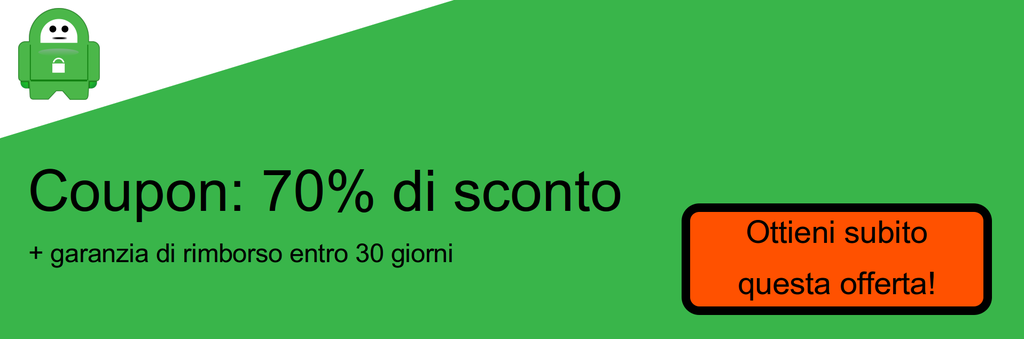 Schermata del coupon sconto del 70% su PIA