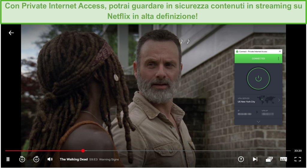 Schermata di sblocco PIA di Netflix US e streaming di The Walking Dead