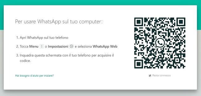 Codice QR di WhatsApp per Windows