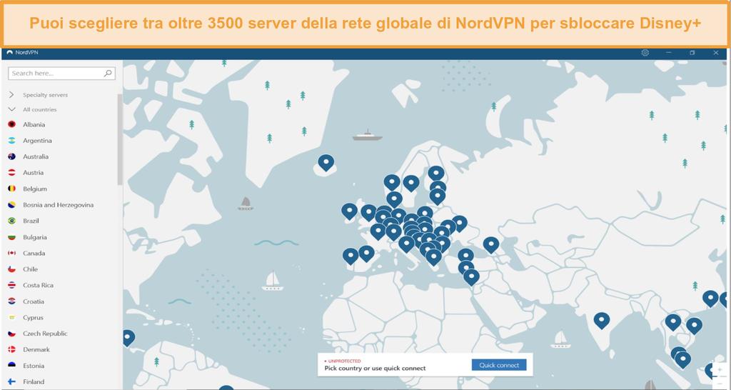 Screenshot dell'interfaccia NordVPN con l'elenco dei server globali
