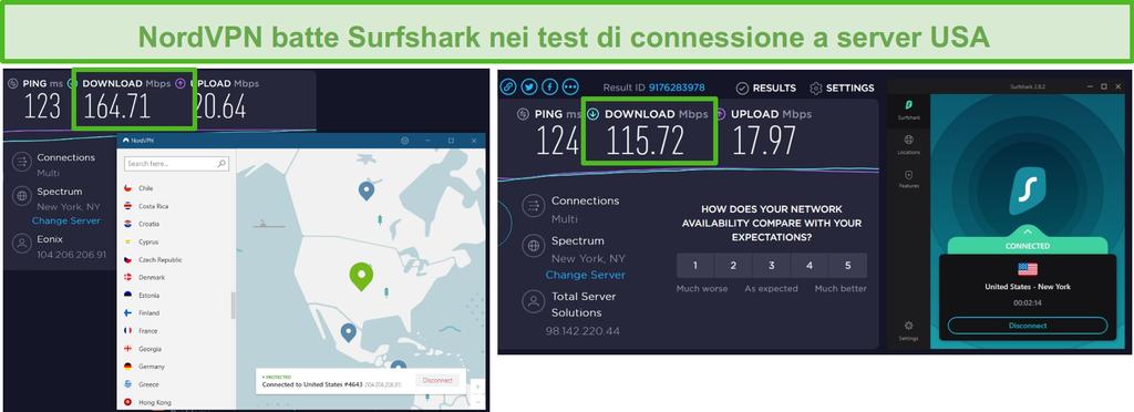 Screenshot di NordVPN e Surfshark che eseguono un test di velocità negli Stati Uniti.