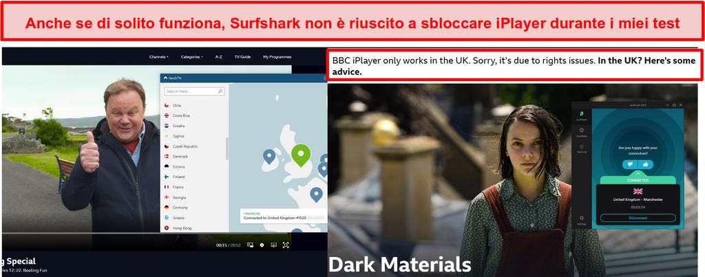 Screenshot di NordVPN che sblocca con successo BBC iPlayer e Surfshark non riesce a farlo.