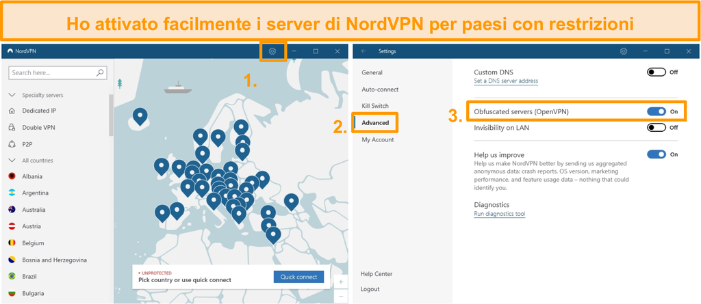 Screenshot della configurazione del server offuscata da NordVPN.