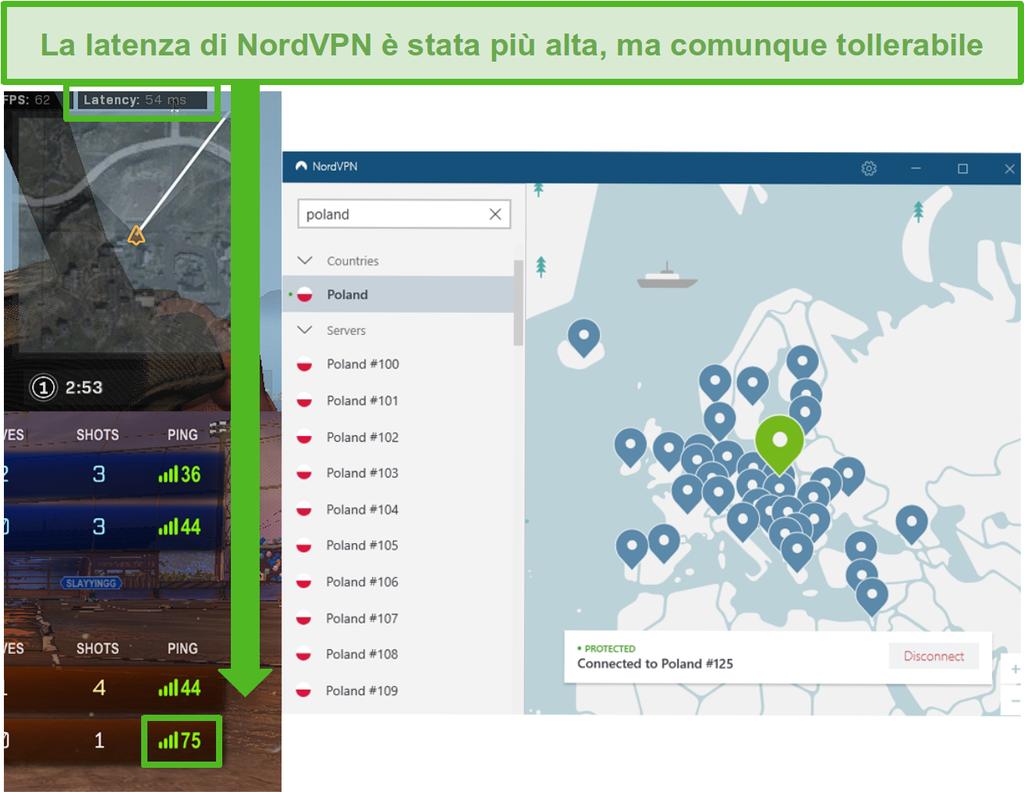 Screenshot dei risultati di latenza di Call of Duty: Warzone e Rocket League durante il gioco con NordVPN connesso.
