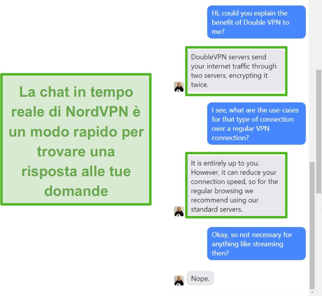 Screenshot dell'assistenza in live chat di NordVPN.
