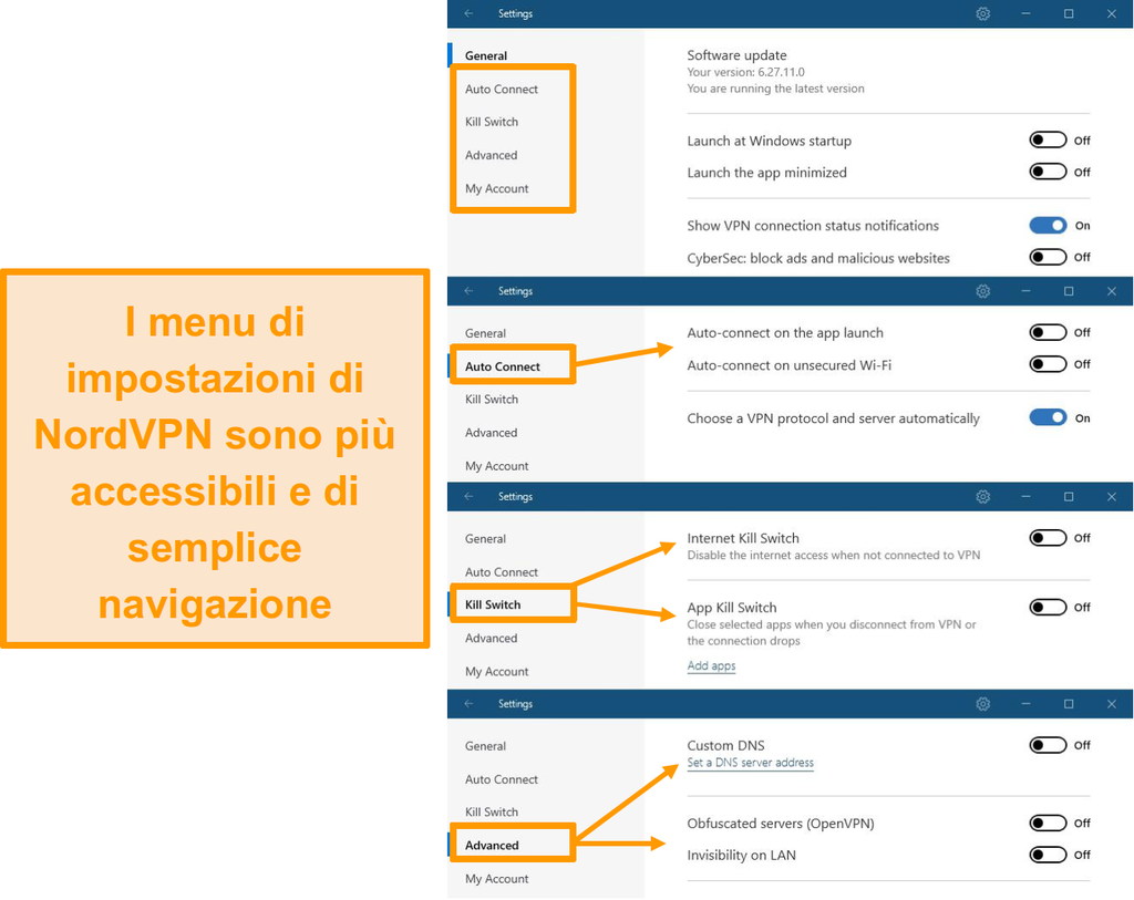Screenshot dei menu desktop di NordVPN.