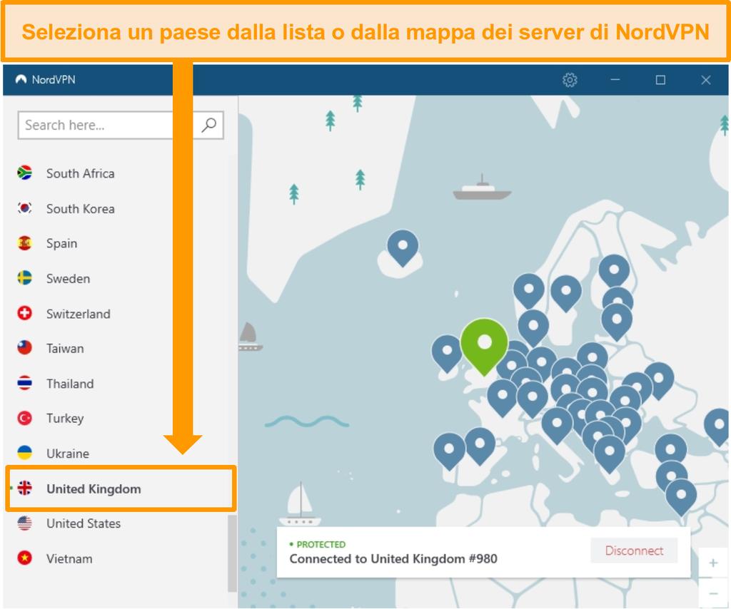 Screenshot di NordVPN connesso a un server del Regno Unito.