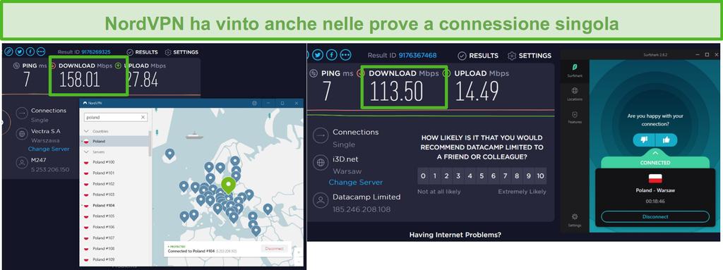 Screenshot di NordVPN e Surfshark che eseguono un test di velocità di connessione singola.