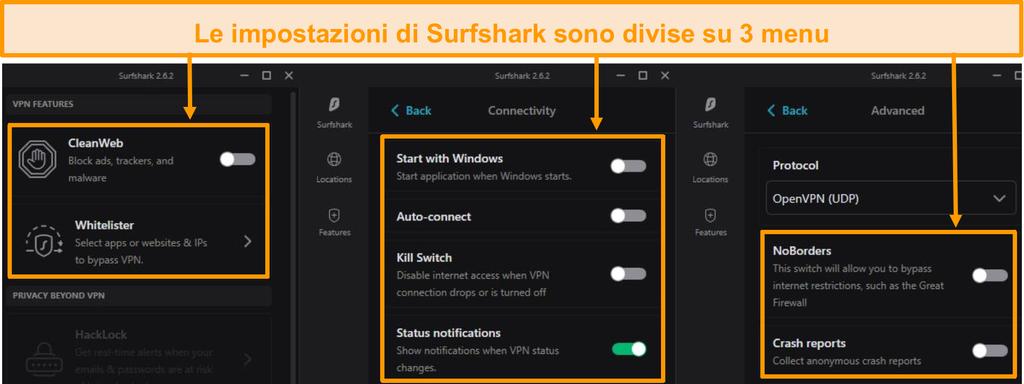 Screenshot dei menu del desktop di Surfshark.