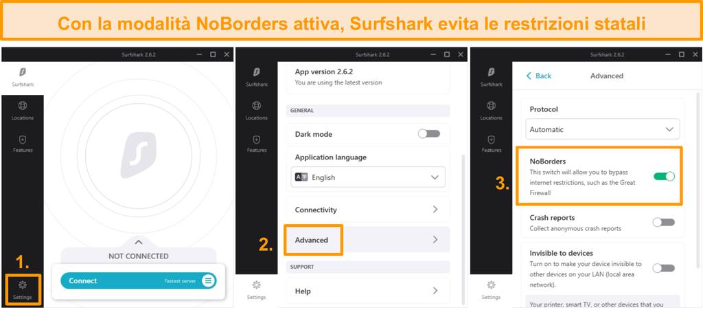 Screenshot della configurazione di Surfshark NoBorders.