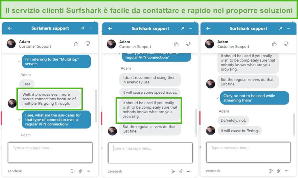 Screenshot dell'assistenza tramite live chat di Surfshark.