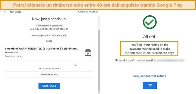 Screenshot della procedura di rimborso di Google WARP