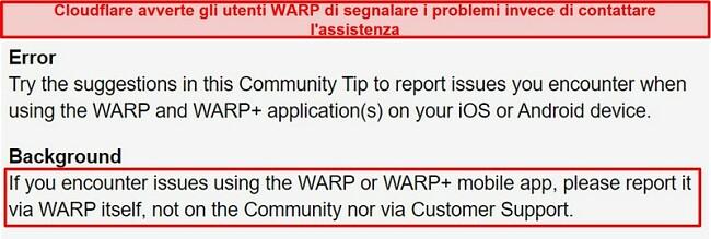 Screenshot delle informazioni sull'assistenza clienti WARP di Cloudflare, che informa gli utenti di utilizzare l'app solo per problemi di supporto.