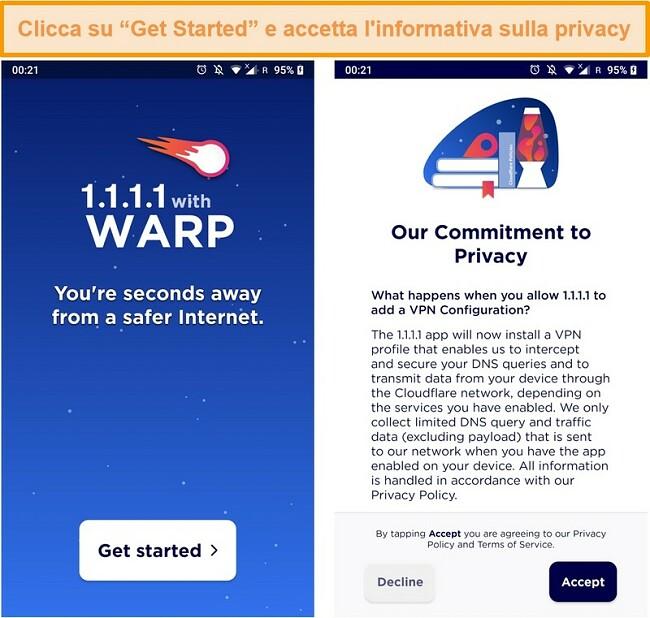 Screenshot che mostra la configurazione WARP all'avvio dell'app