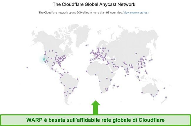 Screenshot che mostra Cloudflare, la società madre di Warp, la rete globale e come aumenta la velocità di WARP