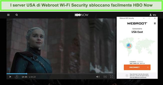Screenshot di HBO Now che gioca a Game of Thrones mentre è connesso a un server negli Stati Uniti