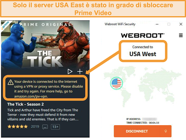 Screenshot dell'errore proxy di Amazon Prime Video durante la connessione al server USA West di Webroot WiFi Security