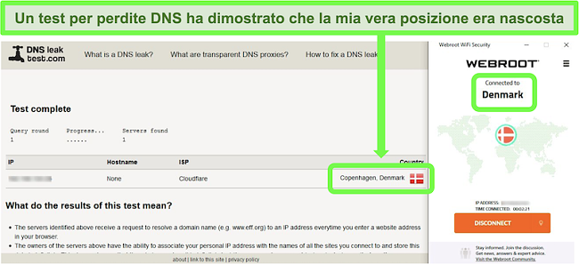 Screenshot di un test di tenuta DNS riuscito mentre Webroot WiFi Security è connesso a un server in Danimarca