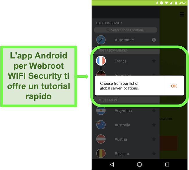 Screenshot dell'app Android di Webroot WiFi Security che fornisce un tutorial per l'utente
