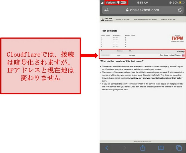 CloudflareのWARPIPおよびDNSリークテスト結果のスクリーンショット-ユーザーのアドレスを置き換えないため、合格しませんでした。