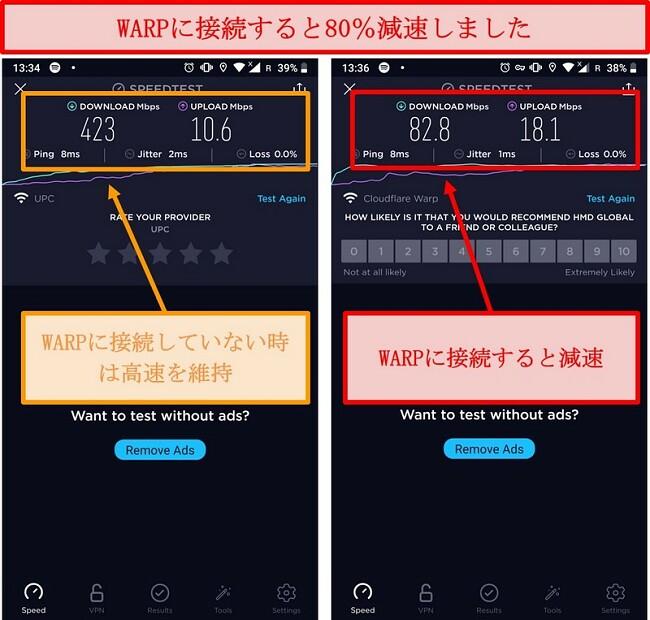 WARPを使用して80%遅い速度での速度テストのスクリーンショット