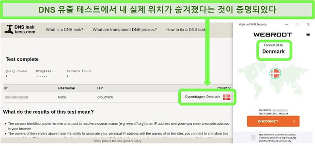 Webroot WiFi Security가 덴마크의 서버에 연결되어있는 동안 성공적인 DNS 누출 테스트 스크린 샷