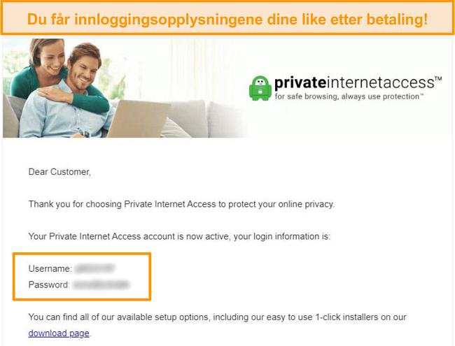 Skjermbilde av bekreftelsespost for PIA-registrering med innloggingsdetaljer inkludert
