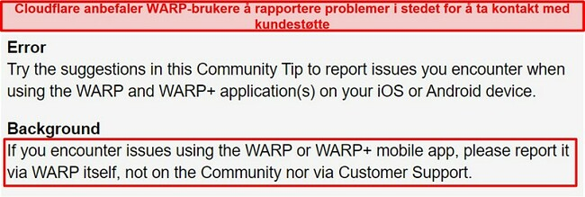 Skjermbilde av Cloudflares WARP kundesupportinformasjon, og informerer brukerne om å bare bruke appen til supportproblemer.