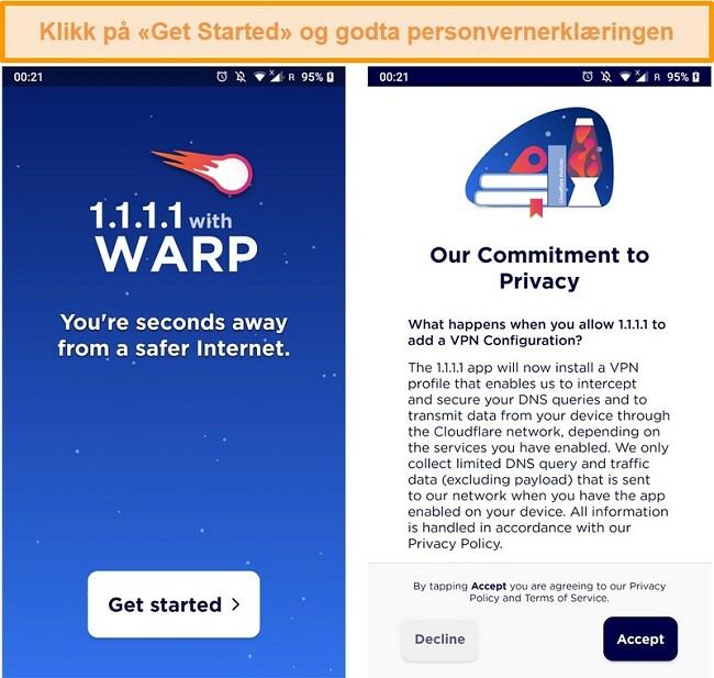 Skjermbilde som viser WARP satt opp ved lansering av appen