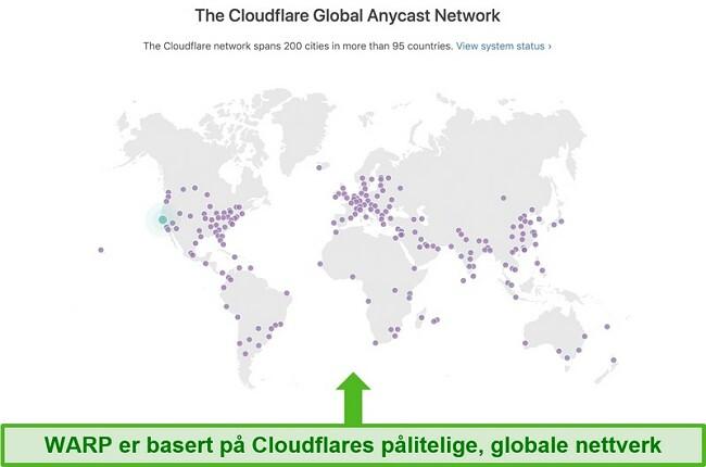 Skjermbilde som viser Cloudflare, Warps morselskap, globale nettverk og hvordan det øker hastigheten på WARP
