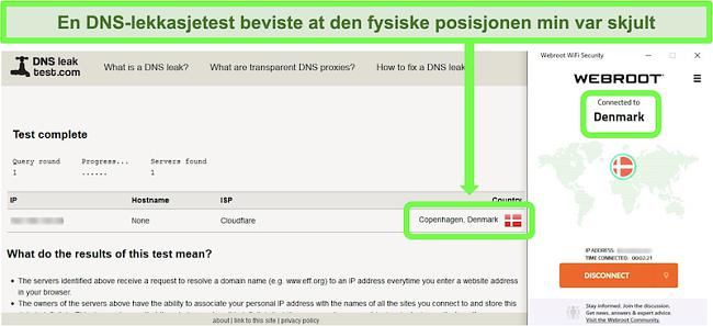Skjermbilde av en vellykket DNS-lekkasjetest mens Webroot WiFi Security er koblet til en server i Danmark